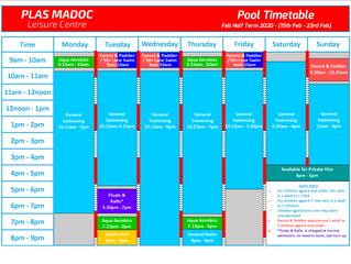 Feb Half Term Pool Timetable