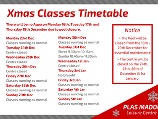 Class Timetable Over The Festive Period