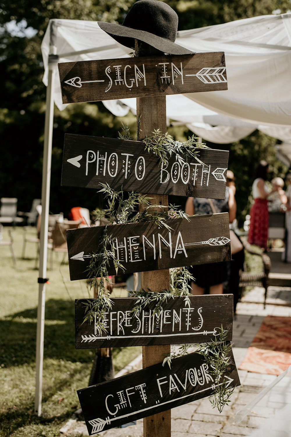 Boho, bridal shower, welcome sign, directions, wood sign