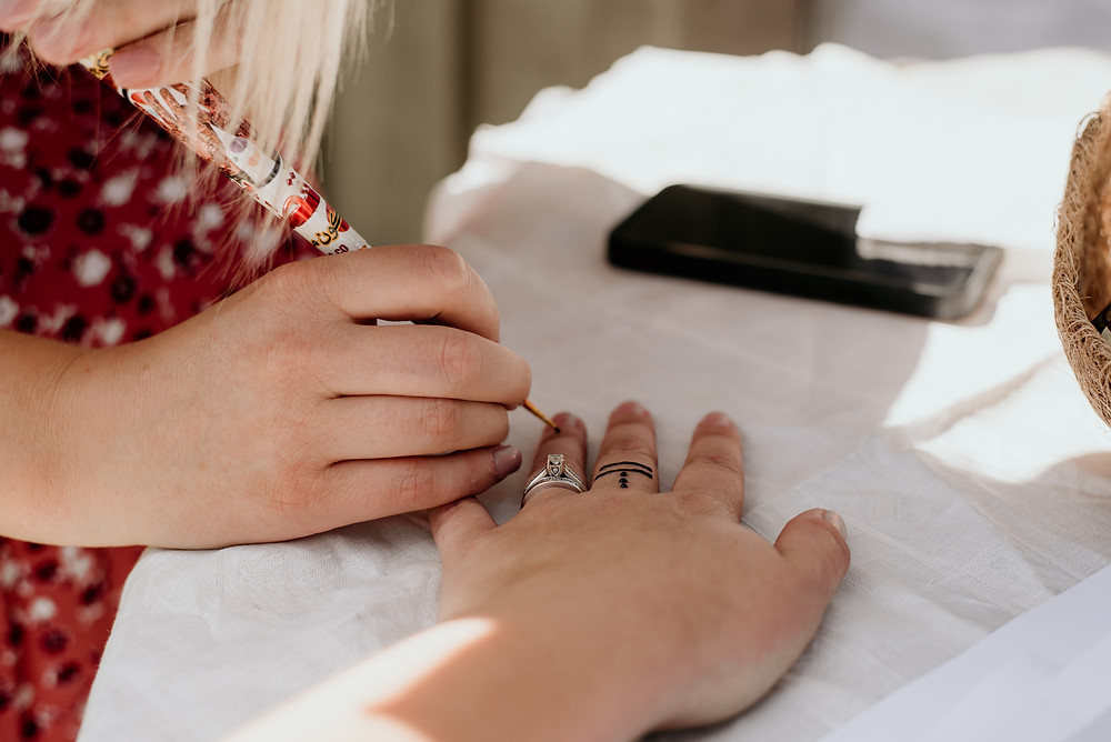 henna tattoo, bridal shower, boho theme