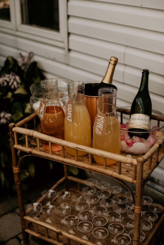 mimosa bar, boho, bridal brunch