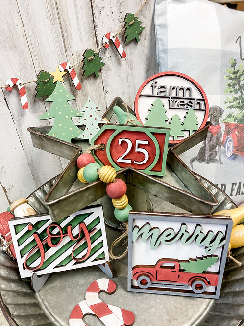 Tiered Tray Set - Candy Cane Lane