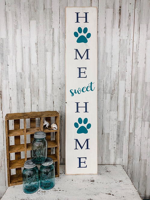 Porch Sign - Home Sweet Home with Paw Prints