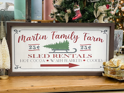 Family Farm & Sled Rentals Sign