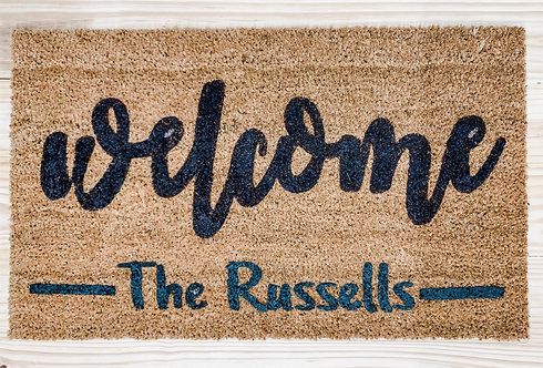 Welcome with Family Name Doormat
