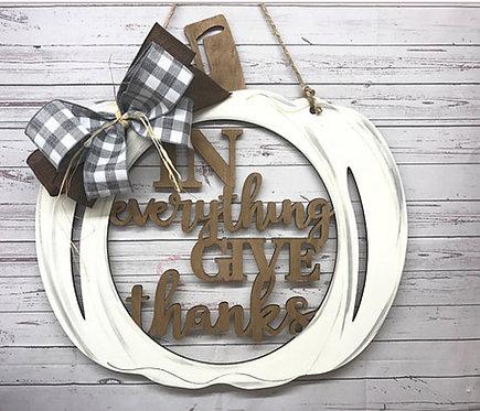Door Hanger - In Everything Give Thanks Pumpkin