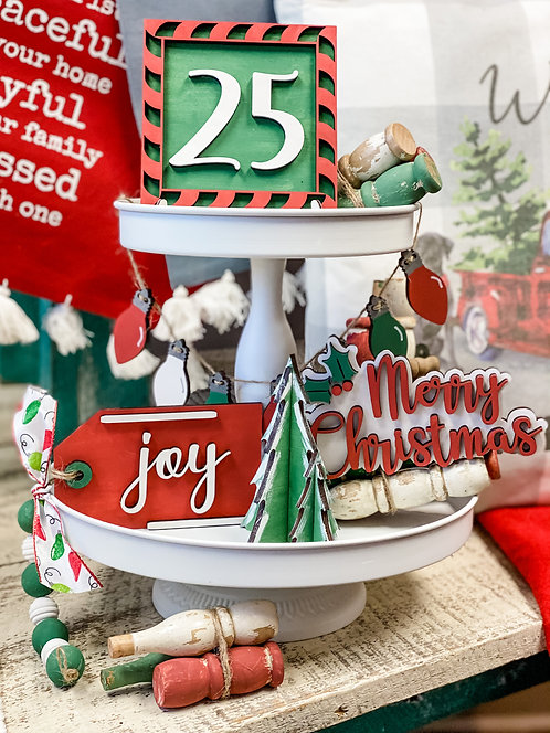 Tiered Tray Set - Merry Christmas