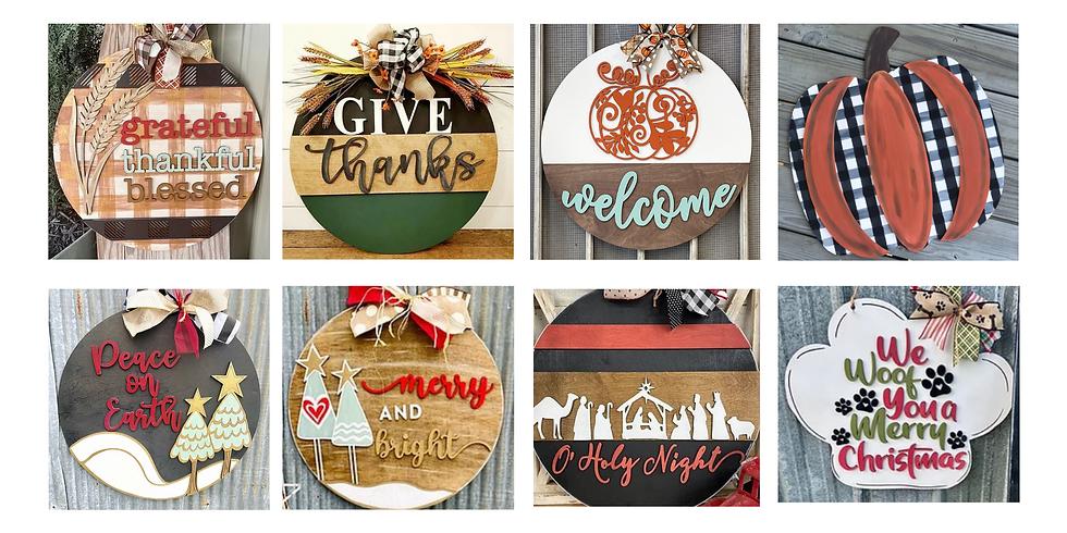 Fall and Christmas Door Hangers