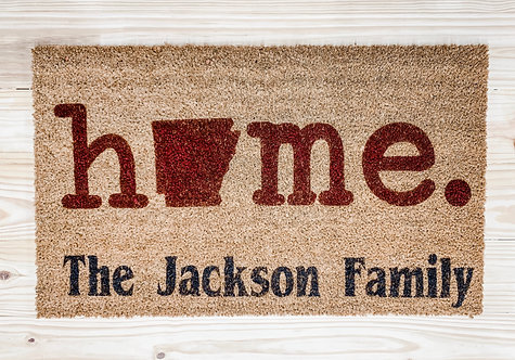 Home with Family Name Doormat
