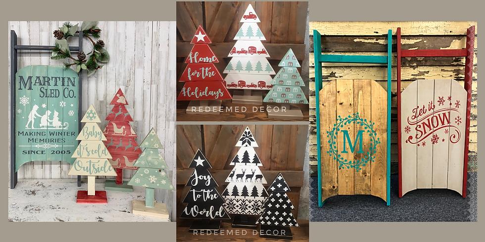 Christmas Trees and Sled