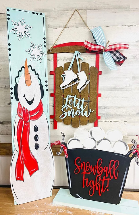 Door Hanger - Let it Snow Sled