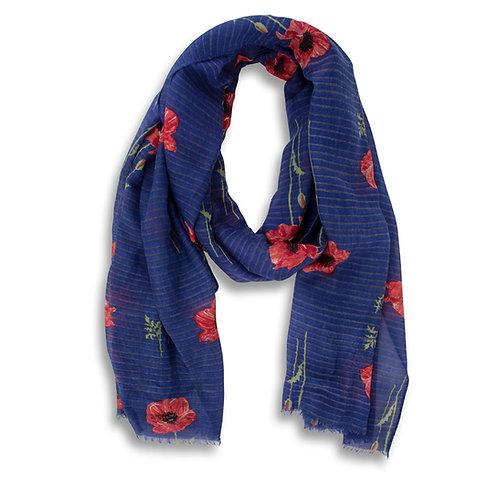 Blue Striped Poppy Scarf