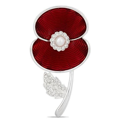 Poppy Crystal Pearl Brooch