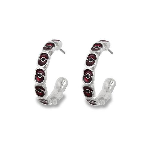 Enamel Poppy Hoop Earrings