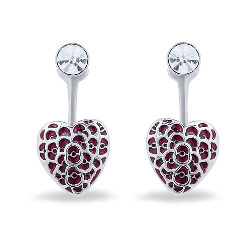 Poppy Collection Floating Heart Earrings