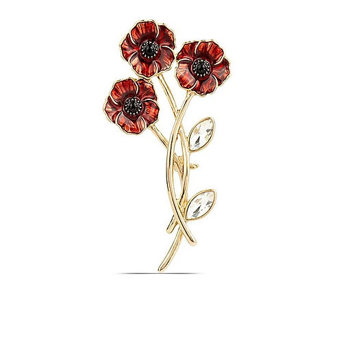 Three Red Poppy Gold Tone Brooch