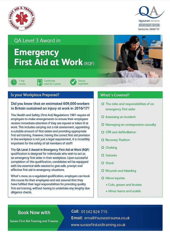 EFAW Emergency First Aid at Work Training