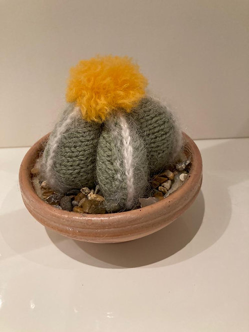 Knitted cactus - yellow