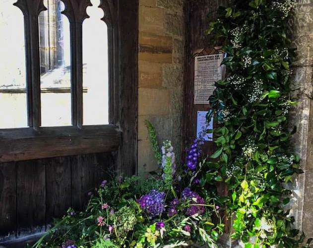 Church entry flowers