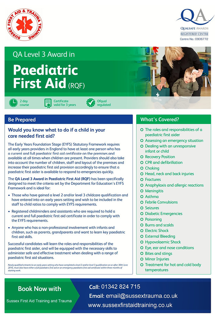 Paediatric First Aid Sussex First aid Tr