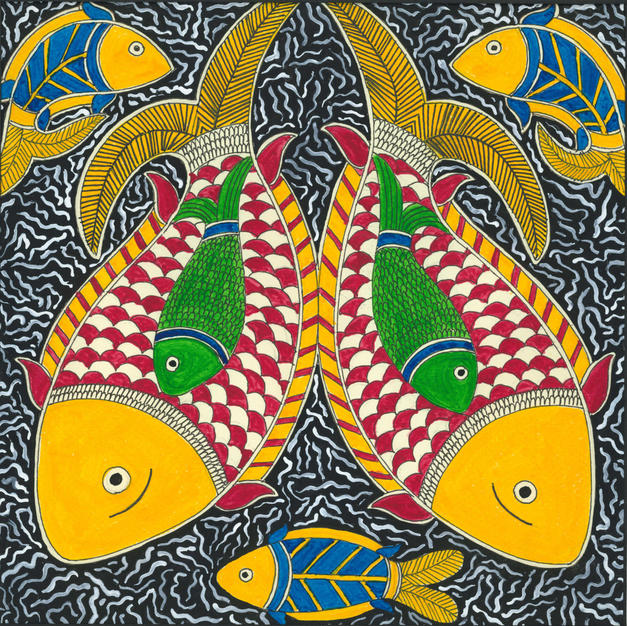 Twin fishes in water, 2015 (SOLD)
