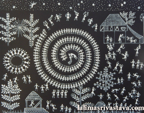 Village scene with Tarpa dance, 2014 (SOLD)