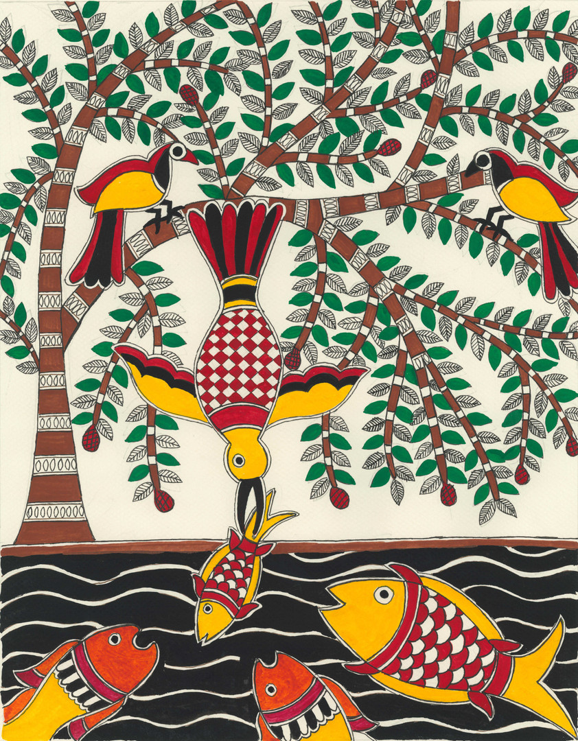 Bird hunting fish, 2015 (SOLD)