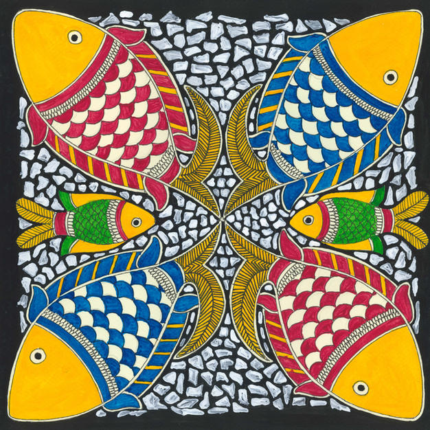 Colorful fishes and pebbles, 2015