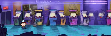 Concept art de la salle d'arcade