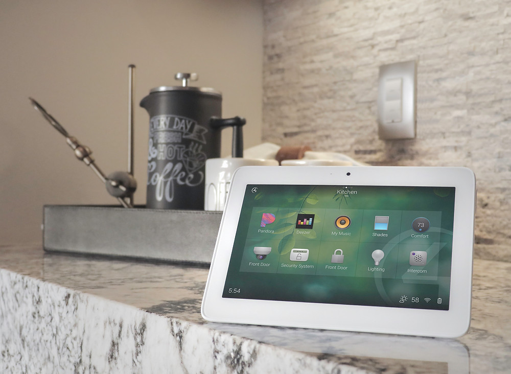 control4 portable touch screen in the kitchen