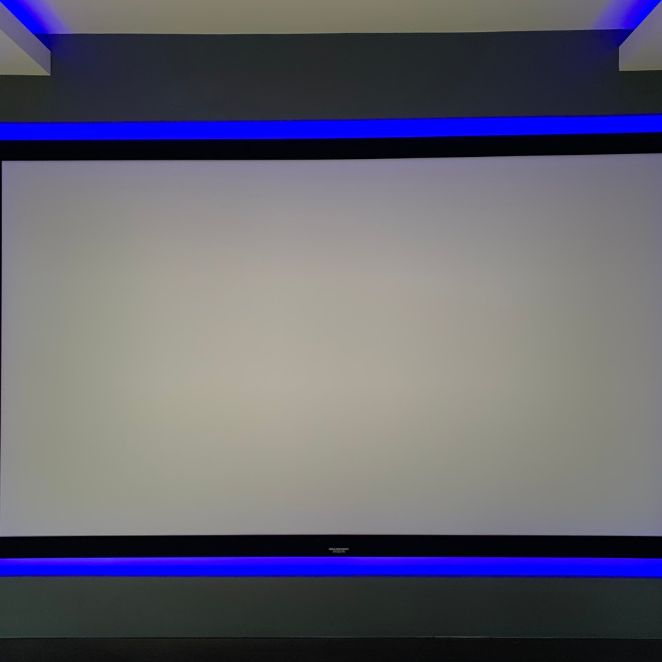 projector screen with blue LED strip aro