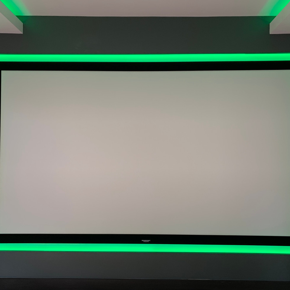 projector screen with green LED strip ar