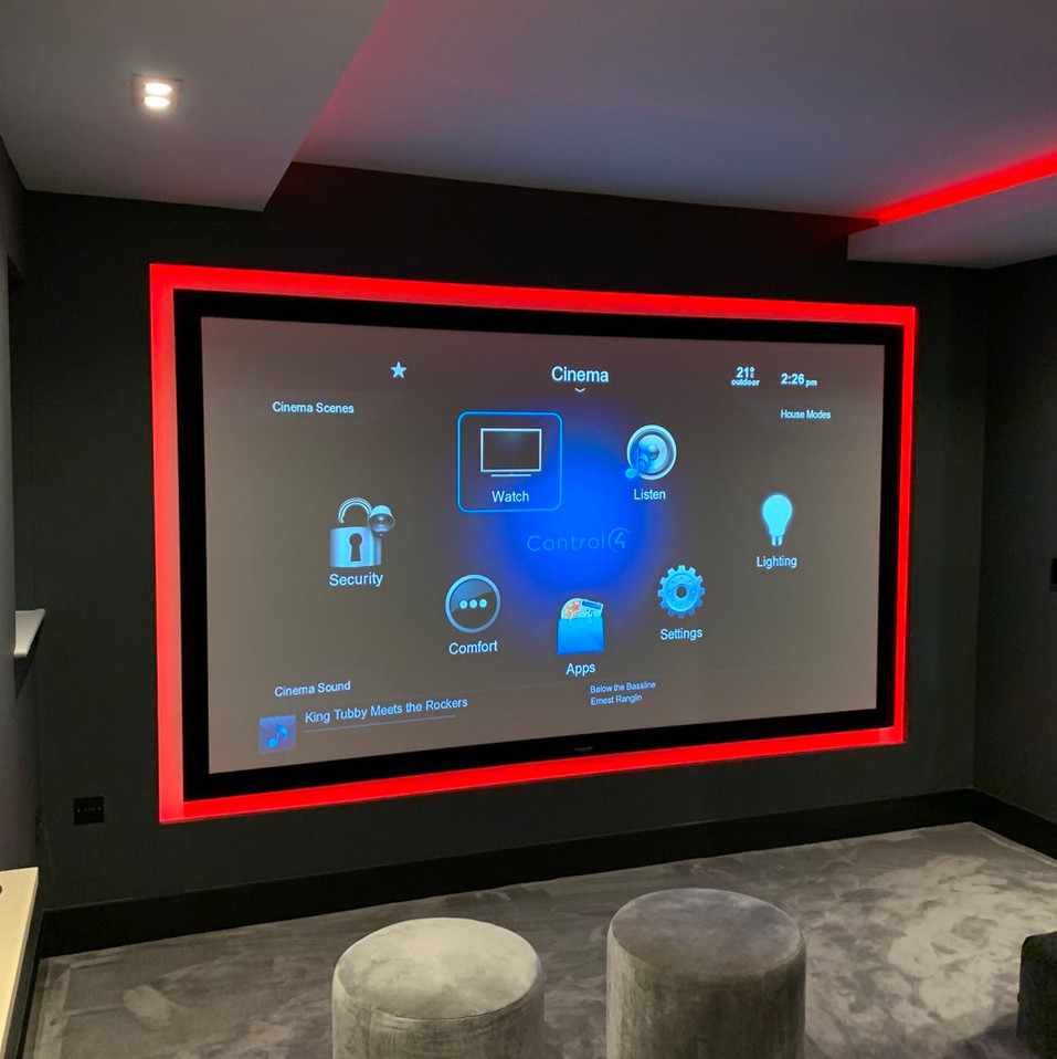 bespoke home cinema room with red led st
