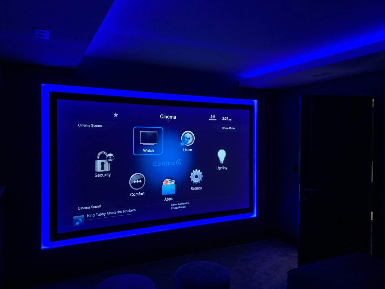 bespoke home cinema room with blue led s