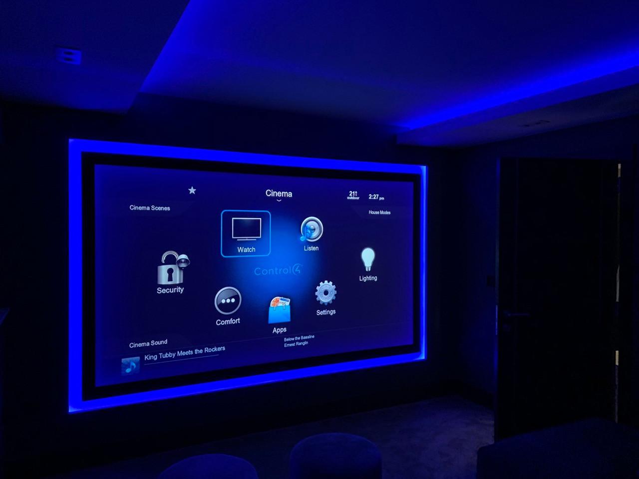 bespoke home cinema room with blue led s