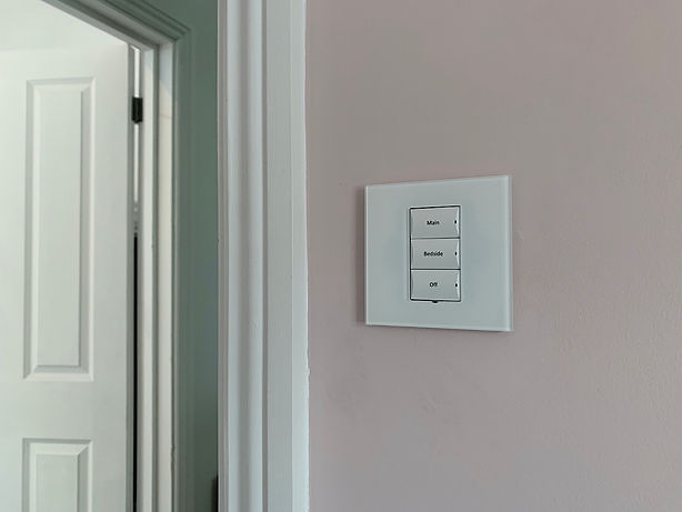 Control4 wireless lighting with white gl