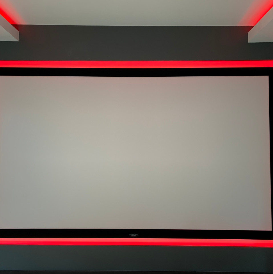 projector screen with red LED strip arou
