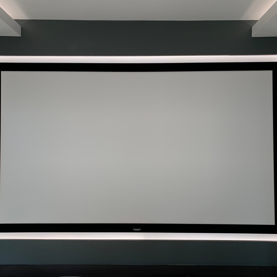 projector screen with white LED strip ar
