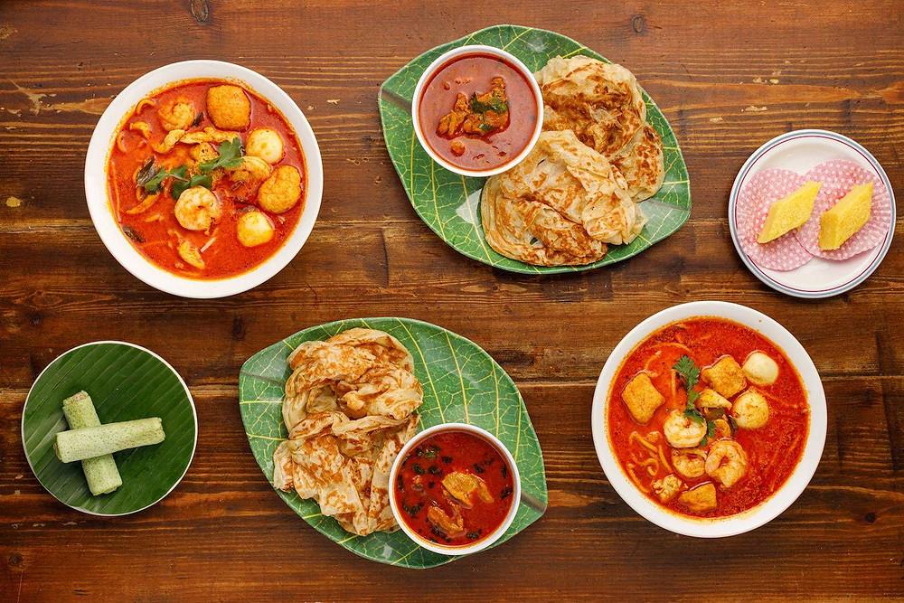 View of Roti Chani, Laksa, Chicken Curry and Dessert from Roti King Malaysian Feast by Dishpatch. Darren Wogman |Hungry Darren|