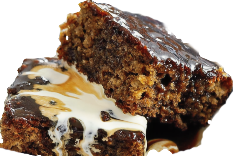 Sticky Toffee Pudding Tray Bake with Cream. Darren Wogman |Hungry Darren|