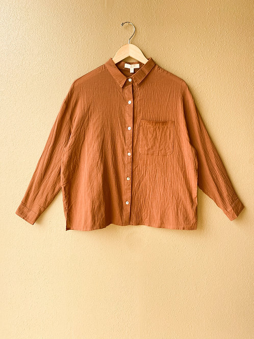 Drop Sleeve Button Up in Cinnamon