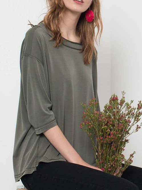 Sand Washed Top in Olive