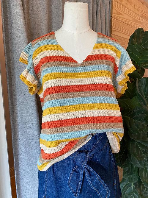 Ruffle Sleeve Sweater in Multi Stripe