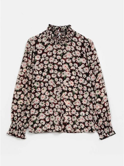 Black Blouse With Daisy Print