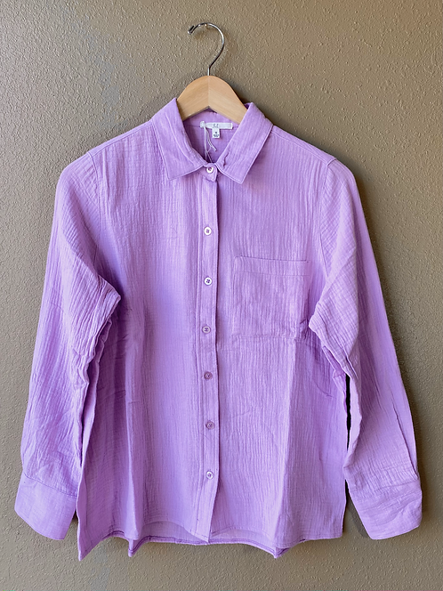 Gauzy Button up in Lavender