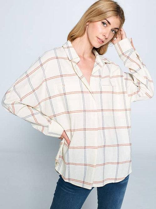 Rachel Shirt In Almond Plaid