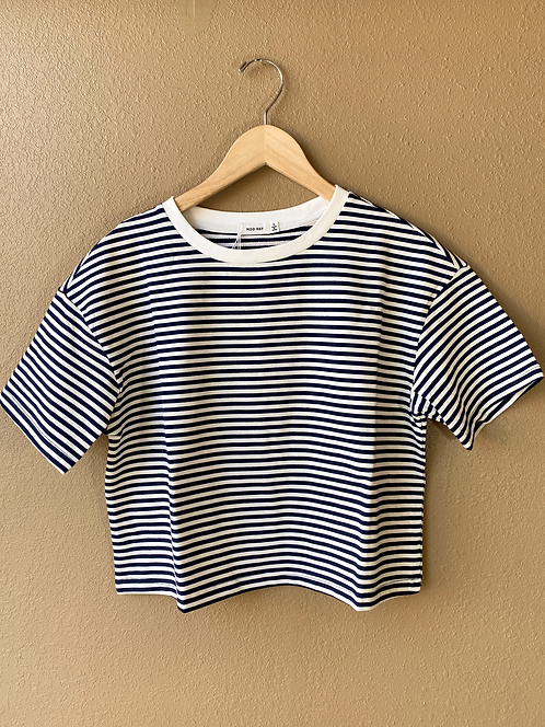 Boxy Crop Tee in Playtime Stripe