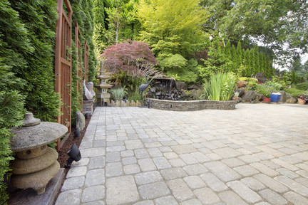 block paved rustic garden