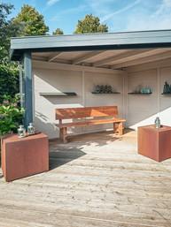 pergola sitting area and decking