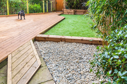 decking and artificial grass